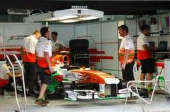 Garagem da parada do poço da força Índia-Mercedes da equipe Fotografia de Stock Royalty Free