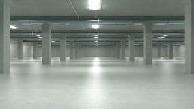 A garagem de estacionamento interior, construção industrial, esvazia o estacionamento subterrâneo ilustração 3D Fotos de Stock Royalty Free