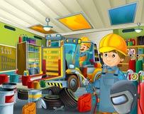 Garagem dos desenhos animados com o trabalhador em algum reservatório repearing adicional da tampa de segurança - soldador do mec Imagem de Stock