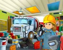 Garagem dos desenhos animados com o trabalhador em algum veículo repearing adicional da tampa de segurança - soldador do mecânico Fotos de Stock