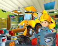 Garagem dos desenhos animados com o trabalhador em algum veículo repearing adicional da tampa de segurança - soldador do mecânico Fotografia de Stock