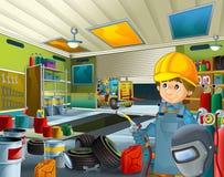 Garagem dos desenhos animados com o trabalhador em algum veículo repearing adicional da tampa de segurança - soldador do mecânico Imagens de Stock