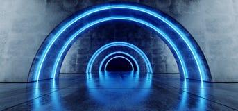 Garagem subterr?nea Hall Empty Futuristic do corredor escuro reflexivo concreto oval azul de n?on do Grunge do corredor do t?nel  ilustração do vetor