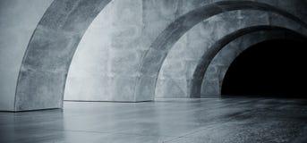Garagem subterr?nea Hall Empty Futuristic Elegant Modern 3D do corredor escuro reflexivo concreto oval do Grunge do corredor do t ilustração royalty free