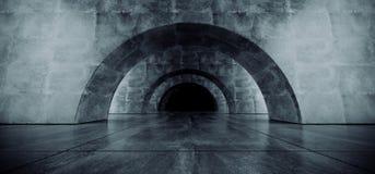 Garagem subterr?nea Hall Empty Futuristic Elegant Modern 3D do corredor escuro reflexivo concreto oval do Grunge do corredor do t ilustração stock