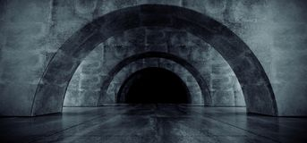Garagem subterr?nea Hall Empty Futuristic Elegant Modern 3D do corredor escuro reflexivo concreto oval do Grunge do corredor do t ilustração do vetor