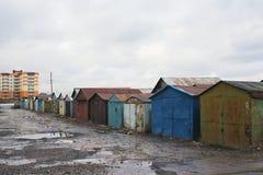 Garagens velhas fotografia de stock