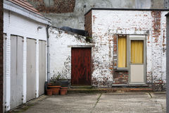 Garages in a residential district of a city Stock Photos