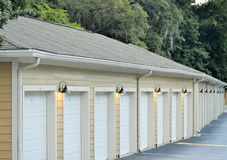 Garages in a row Royalty Free Stock Image
