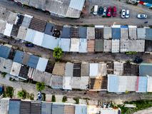 Garages sitting in raws, colorful cars, topview Stock Photo