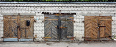 The garages wooden  gates Royalty Free Stock Photography