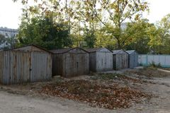 Garages in the yard. Sevastopol Stock Photos
