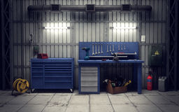 Garageworkshop het 3d teruggeven Royalty-vrije Stock Afbeeldingen