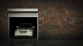 Garaje con la puerta abierta del rodillo representación 3d Imagen de archivo