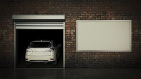 Garaje con la puerta abierta del rodillo representación 3d Imágenes de archivo libres de regalías