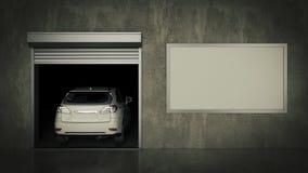 Garaje con la puerta abierta del rodillo representación 3d Fotografía de archivo