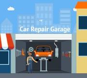Garaje de la reparación del coche de Cartooned Imagen de archivo
