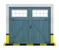 Garaje de madera del coche clásico en blanco Fotografía de archivo