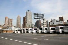 Garaje del autobús en Nueva York Imagen de archivo libre de regalías