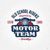 Garaje del club de la motocicleta del vintage o diseño de la ropa de la competencia Imagen de archivo
