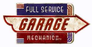 Garaje retro del vintage de On Duty Sign del mecánico fotografía de archivo
