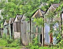 Garajes abandonados Imágenes de archivo libres de regalías