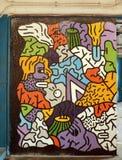 Garajul Ciclop: Grafitti i Bucharest, Rumänien Arkivfoto