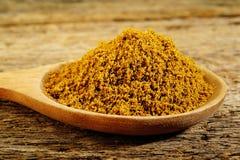 Garam masala powder. In wooden spoon stock photography