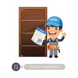 Garantía de calidad del trabajador y de la puerta ilustración del vector