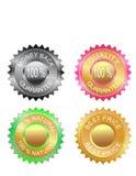 garantía de calidad y el mejor conjunto de escrituras de la etiqueta de precio Foto de archivo