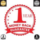 Garantía de la parte posterior del dinero de 1 año ilustración del vector