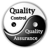Garantía de calidad y control de calidad Ying-Yang Imágenes de archivo libres de regalías