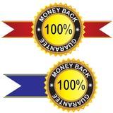Garanterad etikett för pengar baksidt Arkivbilder