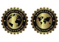 Garanterade lyxiga guld- etiketter för tillfredsställelse Royaltyfria Foton
