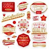 Garanterade och högvärdiga kvalitets- etiketter royaltyfri illustrationer