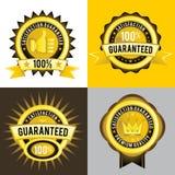 Garanterade och högvärdiga kvalitets- guld- etiketter för tillfredsställelse Royaltyfria Foton