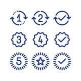 Garantiårstecken, tjänste- period för garanti, godkänd fläck, linje symboler royaltyfri illustrationer