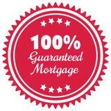 100% a garanti le label ou l'insigne d'hypothèque d'isolement sur le blanc Image libre de droits