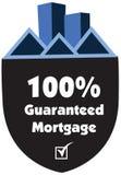 100% a garanti le label ou l'insigne d'hypothèque d'isolement sur le blanc Image stock