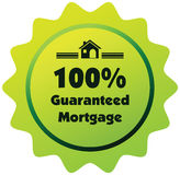 100% a garanti le label ou l'insigne d'hypothèque d'isolement sur le blanc Images stock