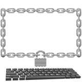 garantie bloquée d'ordinateur de moniteur à chaînes de blocage Photographie stock