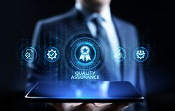 Garantie de la qualit?, garantie, normes, certification d'OIN et concept de standardisation illustration stock