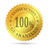 Garantie de satisfaction d'insigne d'or Photo stock