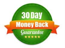 Garantie de trente jours de dos d'argent Images stock