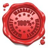 Garantie 100 Prozent - Stempel auf rotem Wachssiegel. Stockfotografie