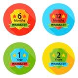 Garantie-stellten flache Kreis-Ikonen 1 mit Schatten ein Lizenzfreie Stockfotos