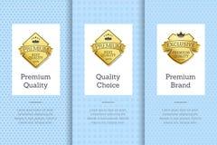 Garanzia Choice dell'etichetta dell'oro di qualità di marca premio Immagine Stock Libera da Diritti