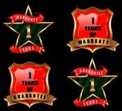 1 garanzia e garanzia badge, segno di garanzia, etichetta della garanzia Fotografia Stock Libera da Diritti