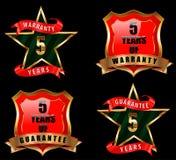 5 garanzia e garanzia badge, segno di garanzia, etichetta della garanzia Immagini Stock
