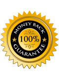 Garanzia posteriore 100% dei soldi Immagine Stock